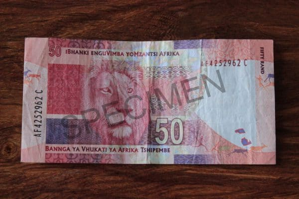 ZAR 50 Rand Hinten Muster