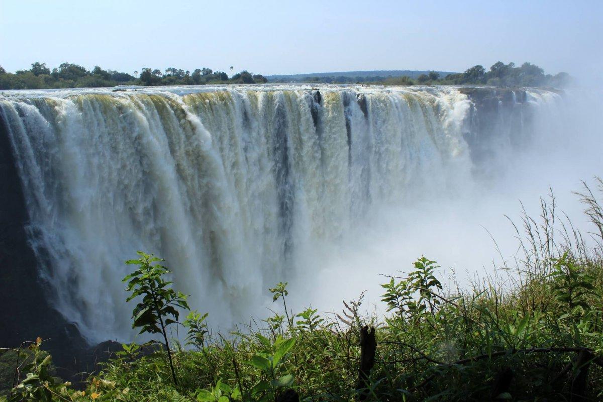 Blick Auf Die Victoria Falls In Simbabwe
