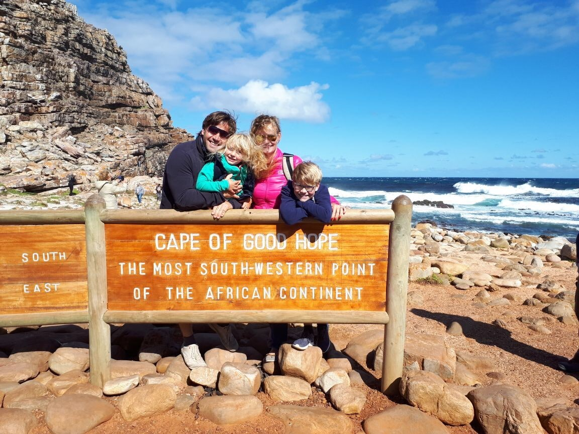 Freudige Gesichter am Cape of Good Hope