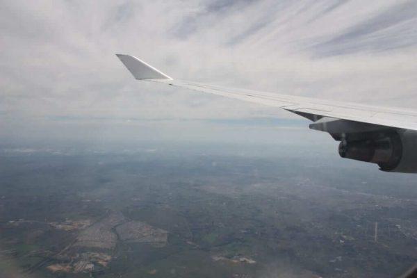 Unser Heimflug: Blick aus dem Flugzeug auf Kapstadt