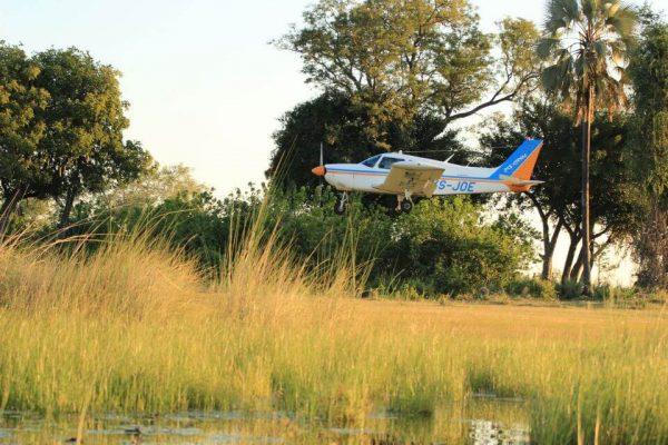 Charterflugzeug in Botswana bei der Landung