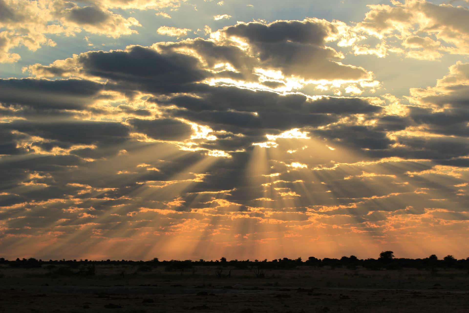 Sonnenuntergang Im Nxai Pan Nationalpark