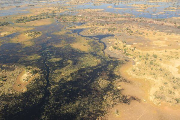Botswana Okavango Delta Flusslauf Von Oben
