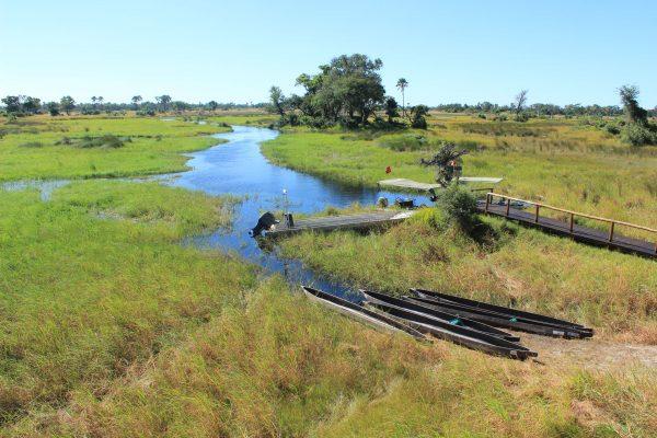 Mokoro Anlegestelle Im Okavango Delta