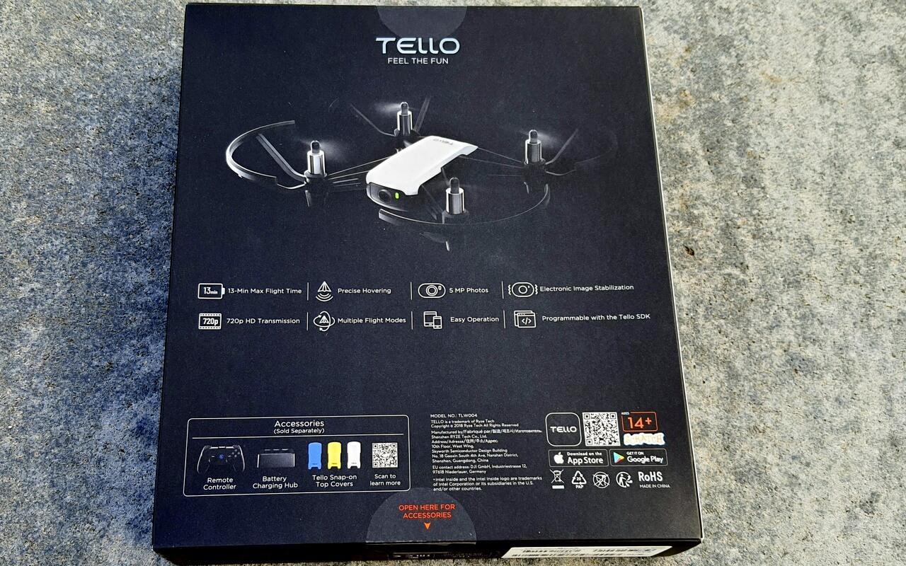 Rückseite Der DJI Tello Verpackung