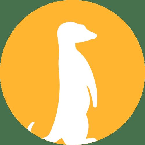 Weißer Umriss Eines Erdmännchen Auf Einem Gelben Kreis