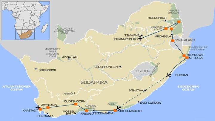 Karte Suedafrika Selbstfahrer Mietwagenrundreise Suedafrika Highlights