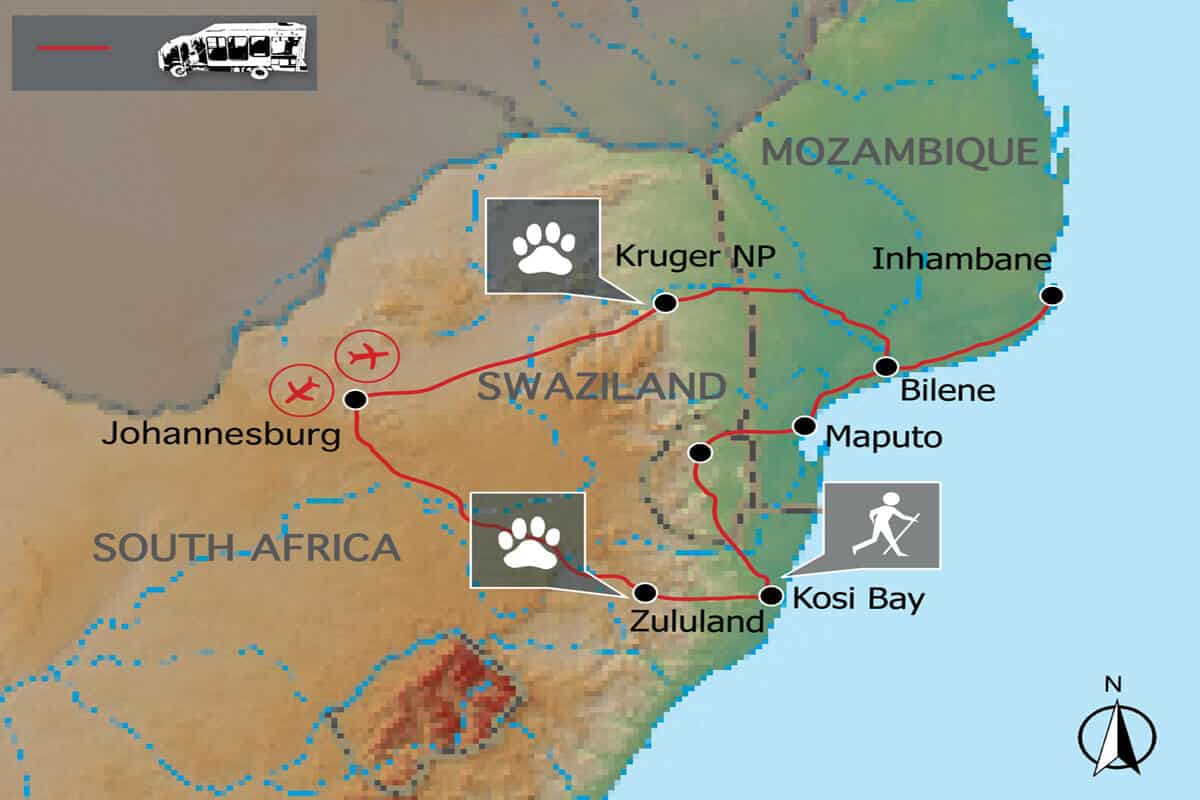 Mosambik Kruger Map
