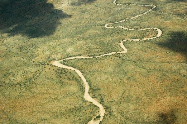 Namibia Flusslauf Windhoek Aus Dem Flugzeug