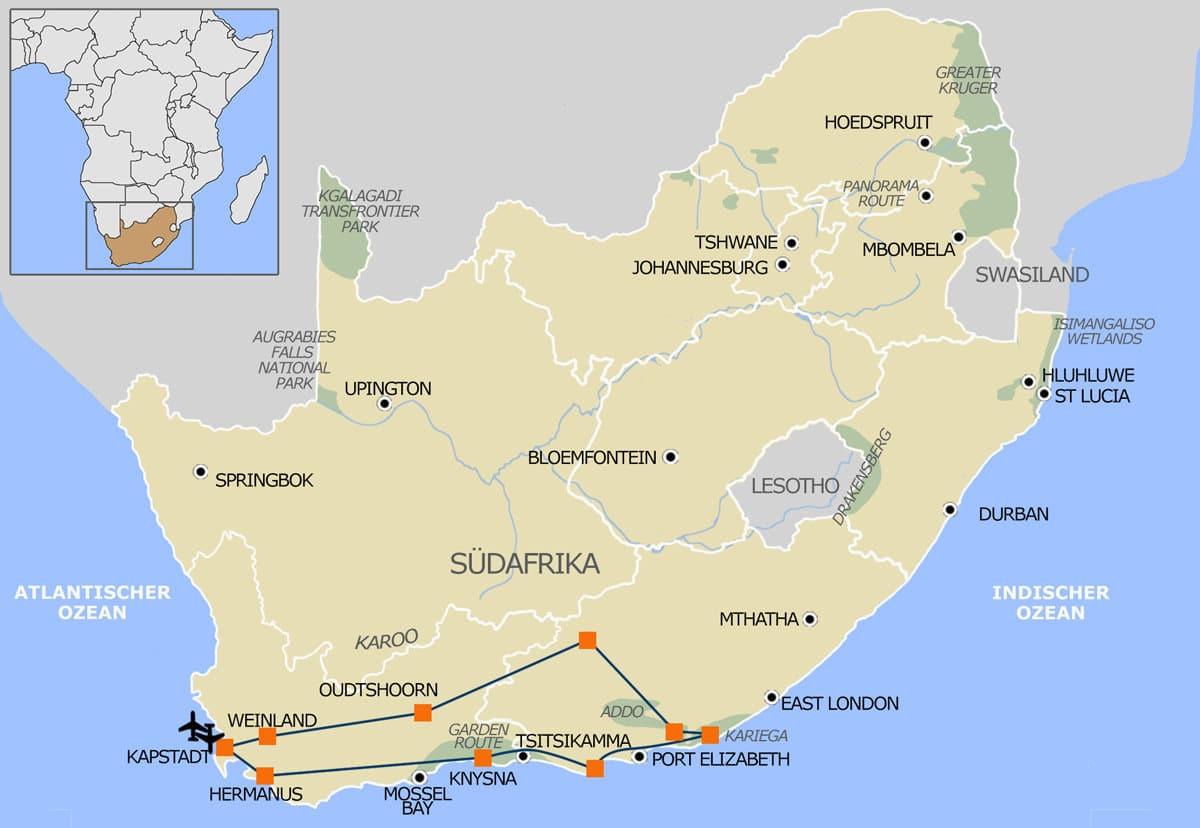 Route Garden Route & Karoo Mietwagenrundreise