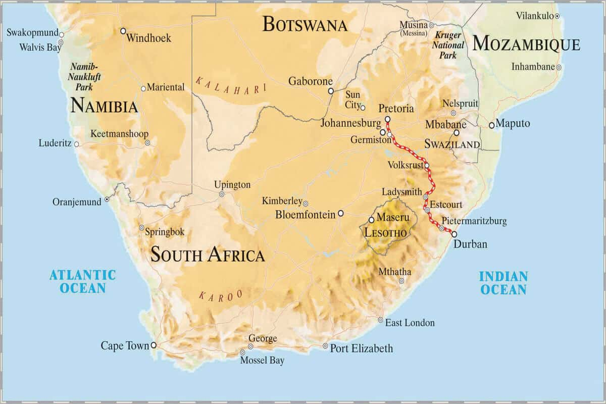 Rovos Rail Pretoria – Durban Map