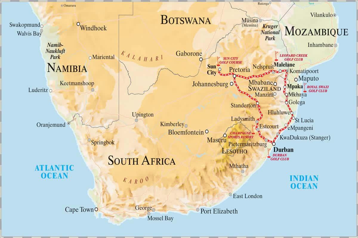 Rovos Rail Golf Safari Map