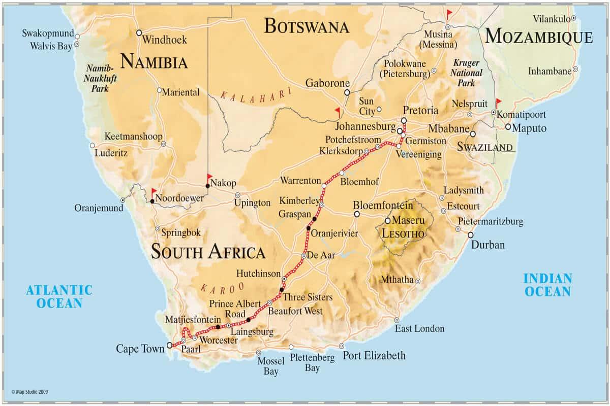 Rovos Rail Pretoria – Kapstadt Map