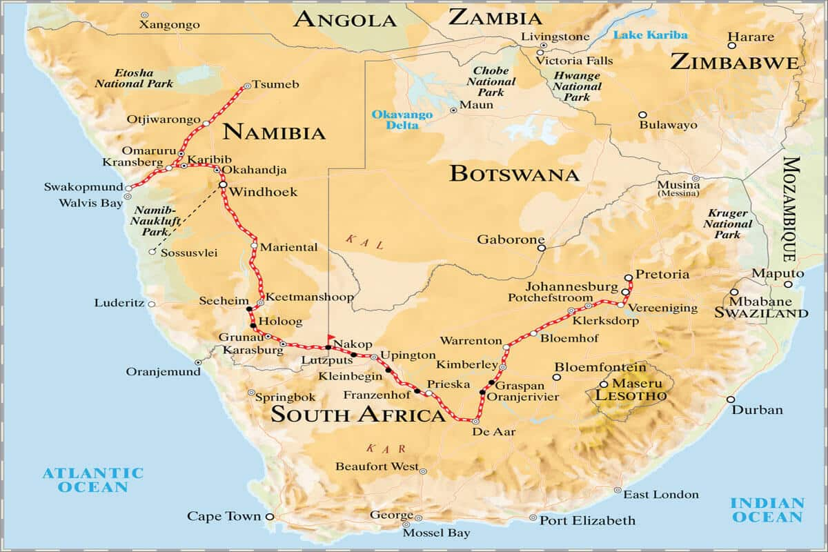 Rovos Rail Namibia Safari Map