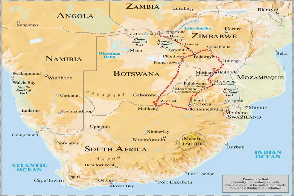 Rovos Rail Pretoria – Vic Falls Map