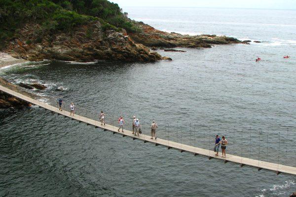 Storms River Hängebrücke Mit Touristen