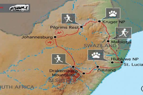 Sunway Wandern Suedafrika Map
