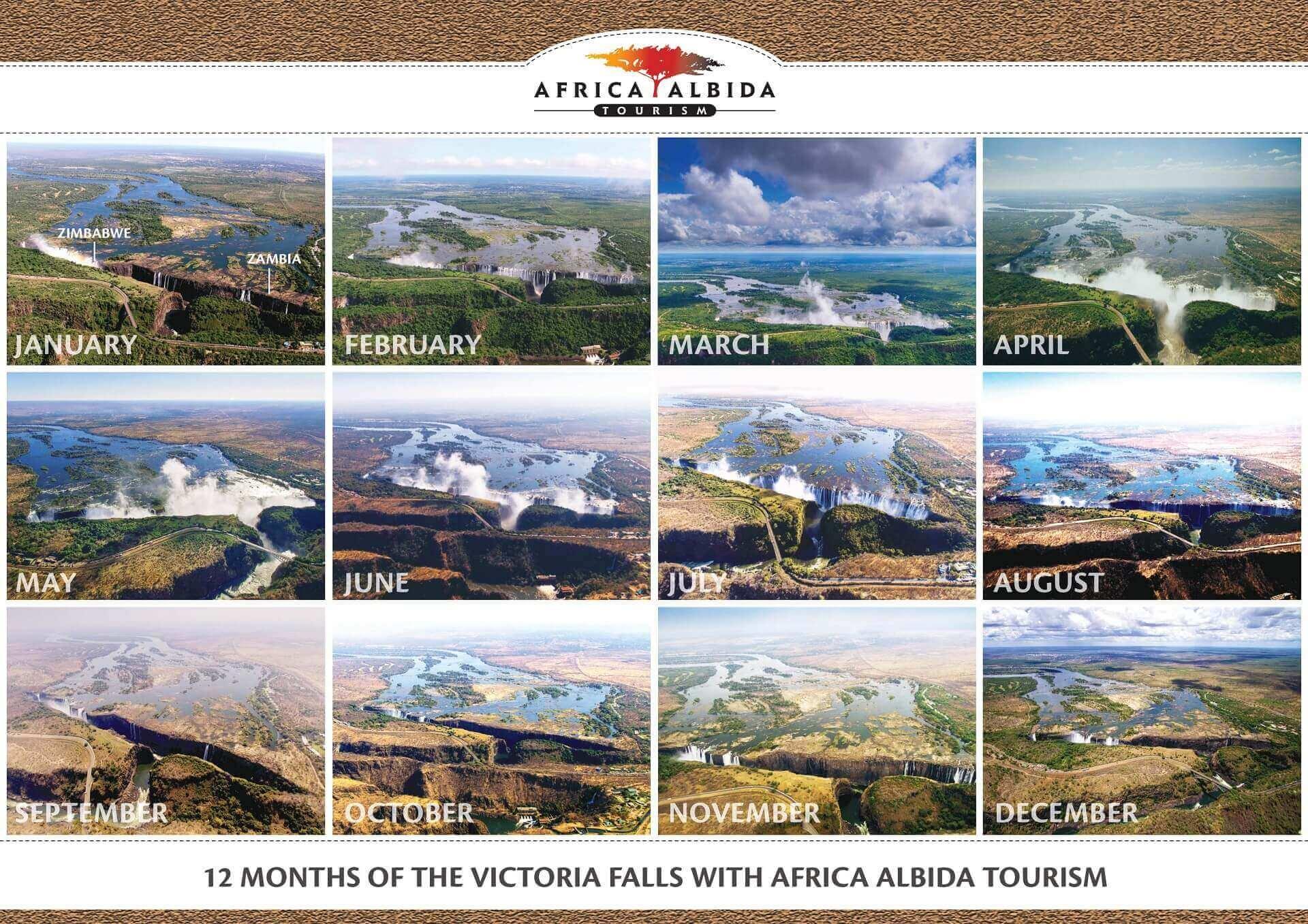 Bilder der Victoria Falls von Januar bis Dezember