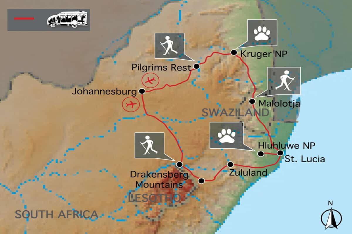 Wandern Suedafrika Map